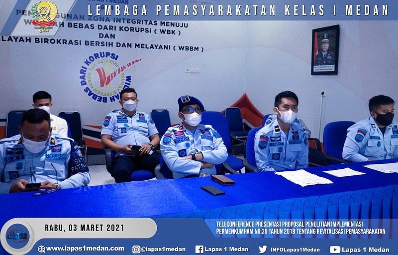 TELECONFERENCE PRESENTASI PROPOSAL PENELITIAN IMPLEMENTASI PERMENKUMHAM NO. 35/2018 TENTANG REVITALISASI PEMASYARAKATAN