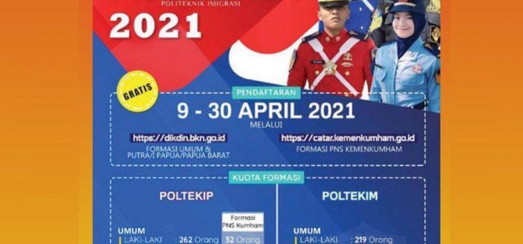 INFORMASI PENERIMAAN SISWA SEKOLAH KEDINASAN POLTEKIP DAN POLTEKIM KEMENTERIAN HUKUM DAN HAM TAHUN 2021