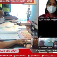 GIAT TELECONFERENCE UPT PEMASYARAKATAN SE-SUMATERA UTARA DENGAN LEMBAGA PENELITAN USU  MENGENAI PENYEBARAN TB PARU DI LAPAS